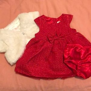 Baby girl 3-6 month cat and jack red shimmer dress